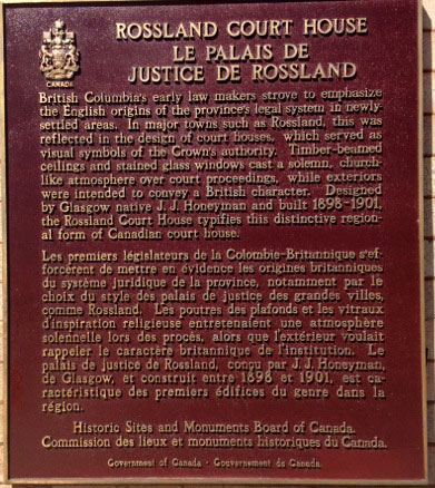 Heritage Rossland - Rossland Court House Plaque